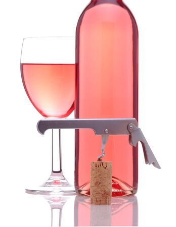 blush: Blush Wine With Glass and Corkscrew isolated on white