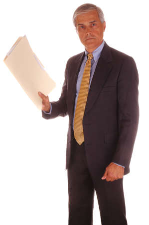 Mature Businessman Standing Holding File Folder isolated over White Stock Photo - 2997578
