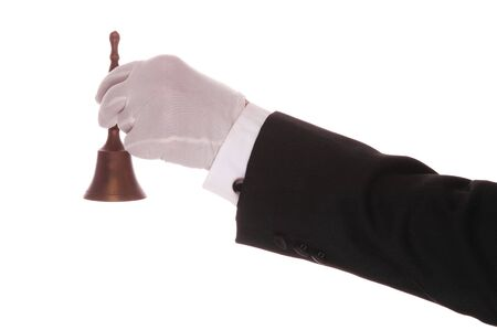 cuff link: Mans Formal Gloved Hand and Arm With Bell isolated over white Stock Photo