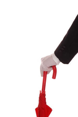 Mans Formal Gloved Hand Leaning on a  Red Umbrella isolated over white Stock Photo - 2995259