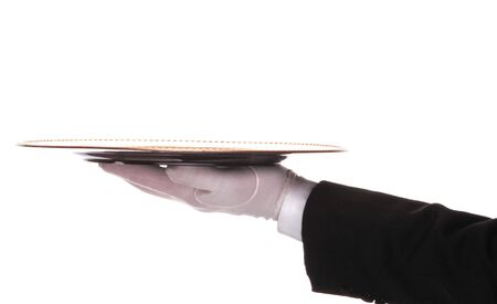 Butler with tray on outstretched arm isolated over white Stock Photo - 2995263