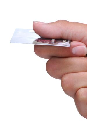 Womans Hand Holding a Credit Card close-up isolated over white Stock Photo - 3284264