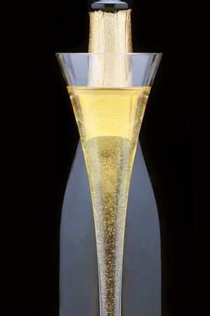carbonation: Champagne flauta delante de botella m�s aisladas negro Foto de archivo