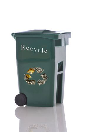 Recycling bin isolated over white with reflections