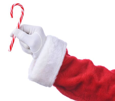 a cane: Santa Hanging Candy Cane isolated over white