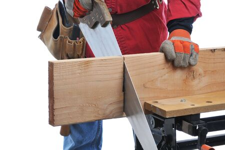 Construction Worker Cutting Beam with hand saw isolated over white