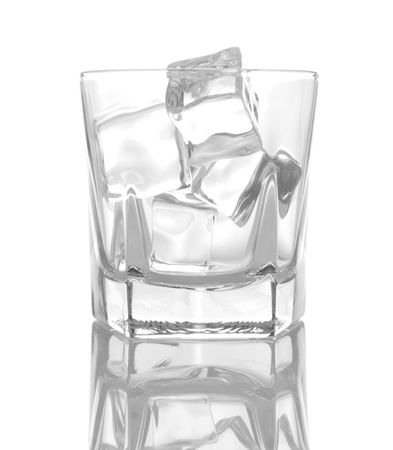 barware: Glass of ice cubes isolated on white background with reflections Stock Photo