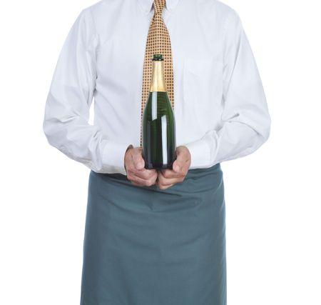 Ober die een fles champagne geïsoleerd over wit - torso alleen