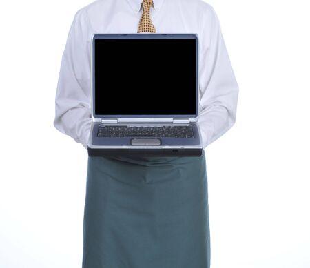 Ober bedrijf laptop geïsoleerd op witte achtergrond