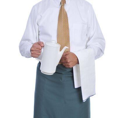 Ober bedrijf koffie urn geïsoleerd op witte achtergrond Stockfoto