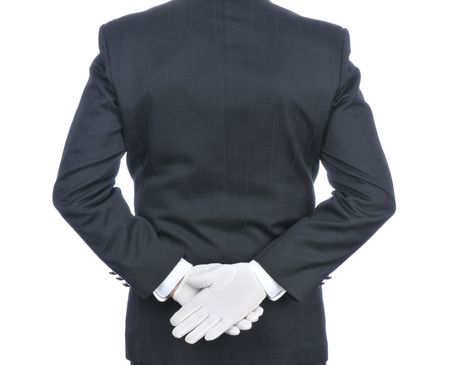 tuxedo jacket: Butler With Hands Behind His Back - torso only isolated on white