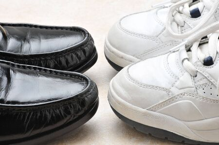 loafers: Two Pairs of shoes - sneakers and Balck Slip-ons
