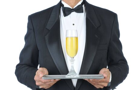 Man in Tuxedo Champagne Flute on Tray isolated over white Stock Photo - 4294750