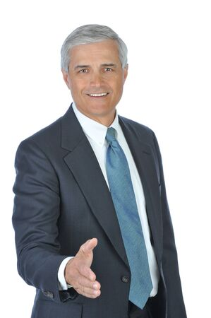 Businessman with hand extended to shake hands with you isolated over white Stock Photo - 4294763