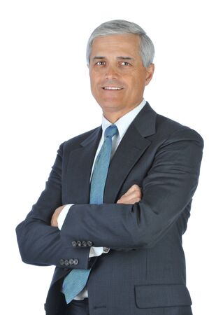 Smiling Businessman With Arms Folded isolated over white photo