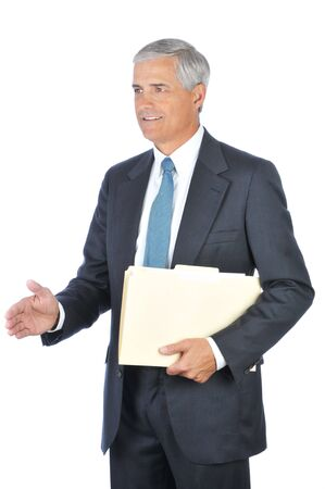 Smiling Businessman Holding a File Folder Ready to Shake Hands isolated on white Stock Photo - 4319777