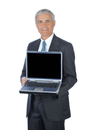 Smiling Businessman Holding an open Laptop Computer isolated on white Stock Photo - 4319778