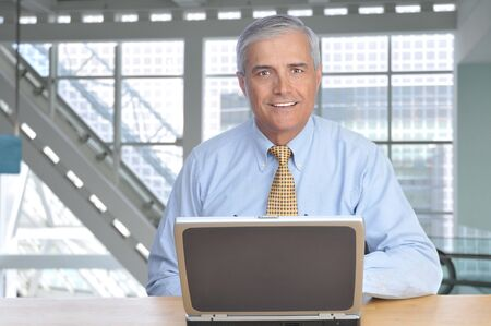Smiling Businessman at desk in Modern Office Building with Laptop Computer Stock Photo - 4449009