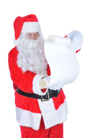 naughty or nice: Santa Claus with Blank Naughty and Nice List isolated on white