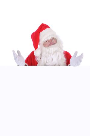 Santa Claus with Blank Sign isolated on white Stock Photo - 5072586