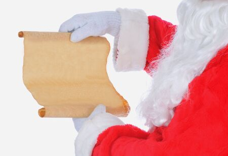Santa Claus with List Close Up isolated on white photo