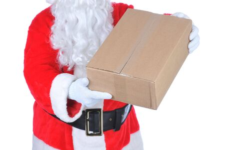 torso only: Santa Claus Holding Parcel isolated on white - torso only Stock Photo
