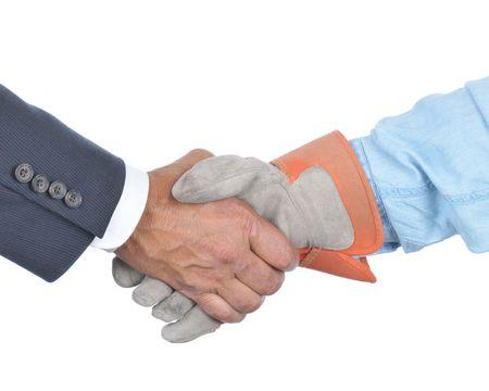 Empresario y Jornalero Handshake aislado más de blanco Foto de archivo