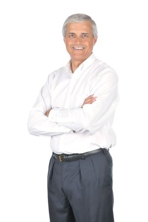Businessman Wearing Dress Shirt and no Necktie with Arms Crossed isolated on white