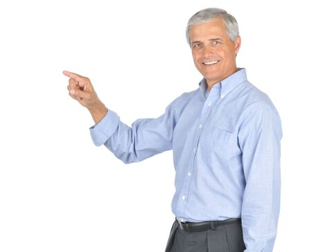 Businessman in Blue Shirt no Tie Smiling and Pointing isolated on white