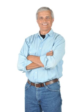 white work: Smiling Man Wearing blue Jeans and Work Shirt with arms folded isolated on white