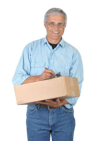 Smiling Deliveryman with Parcel and Clipboard isolated on white photo