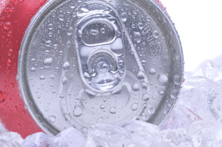 pulltab: Close Up of a Red Soda Can Top with Ice and Condensation white background copyspace Stock Photo