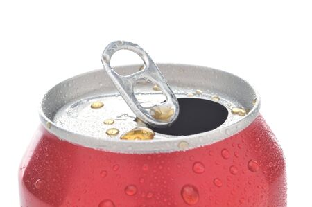 aluminum cans: Close Up of a Red Soda Can with Pull Tab open with condensation