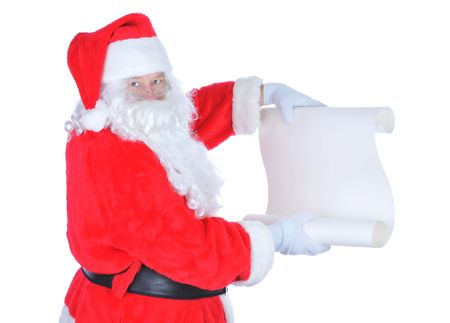 st claus: Santa Claus Holding Blank Naughty List isolated on white Stock Photo