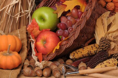 Fall Still Life with Pumpkins, Cornucopia, Fruit and Vegetables, horizontal composition photo