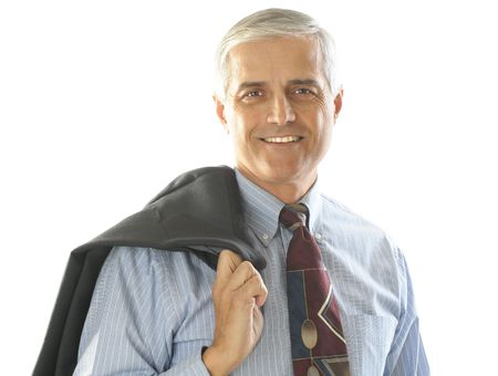 50 yrs: Portrait of a Middle Aged Businessman with jacket over his shoulder isolated over white