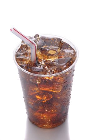 cola: Clear Plastic Cup with Soda Ice and Straw isolated on white with reflection vertical format Stock Photo