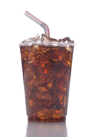 Clear Plastic Cup with Soda Ice and Straw isolated on white with reflection vertical format Imagens