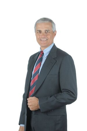 50 yrs: Portrait of a Smiling Middle aged businessman isolated over white