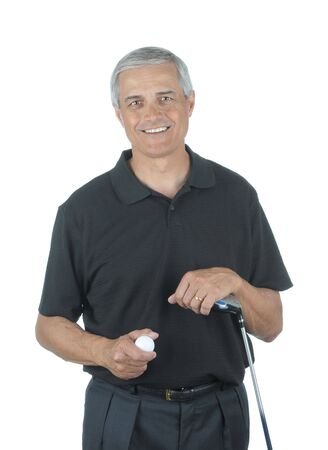 Middle Aged man met Golf Club- en Ball geïsoleerd over Wit