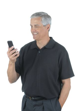 Middle Aged Businessman Looking at Cell Phone isolated over white photo