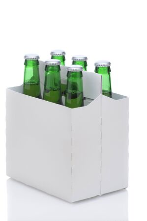 Six Pack of Green Beer Bottles in Cardboard Carrier isolated on white with reflection vertical format