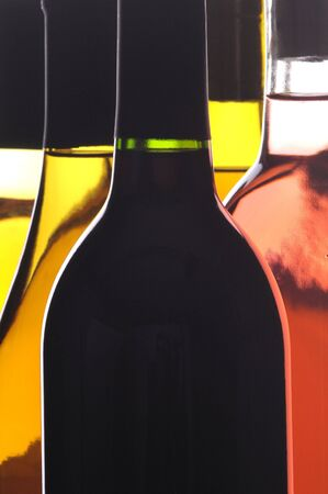 Abstract Close up of Five Different Wine Bottles vertical format Stock Photo - 6711040