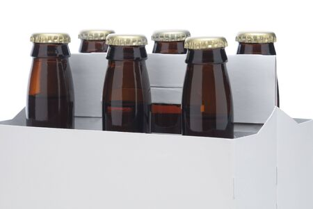 Close up of a Six pack of Brown beer bottles in blank carrier isolated over a white background photo