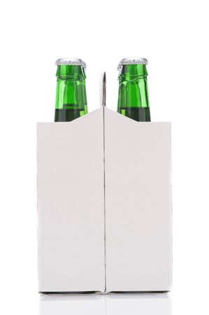 6 pack beer: End View of a Six Pack of Green Beer Bottles in Cardboard Carrier isolated on white with reflection vertical format Stock Photo