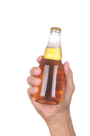 Man's hand holding up a clear beer bottle without label over a white background vertical format Stock Photo - 6710959