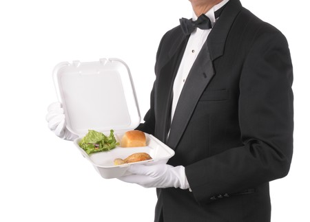 takeout: Butler in tuxedo torso only holding a Take-out Food Container isolated over white