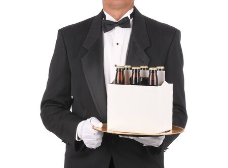 torso only: Butler in Tuxedo torso only with a Six Pack of Beer on Tray isolated on white Stock Photo