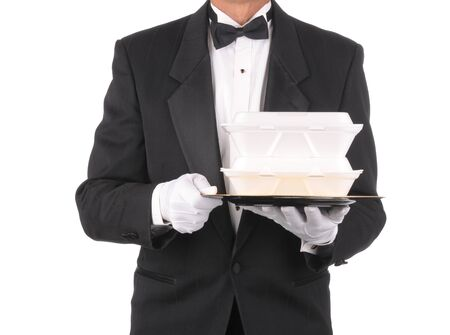 takeout: Butler in tuxedo torso only holding a take-out food containers on a tray  isolated over white