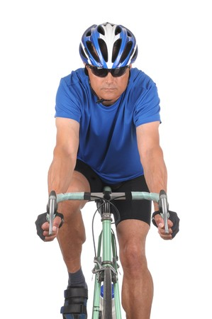 Closeup of a man on a road bike isolated on white. Head on shot in vertical format showing only top half of bike. photo